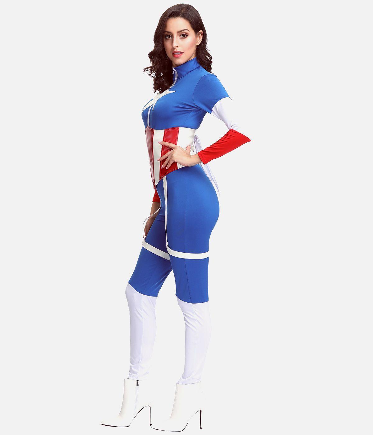 万圣节女装服饰超级英雄Cosplay美国队长超人连体紧身衣服装扮演
