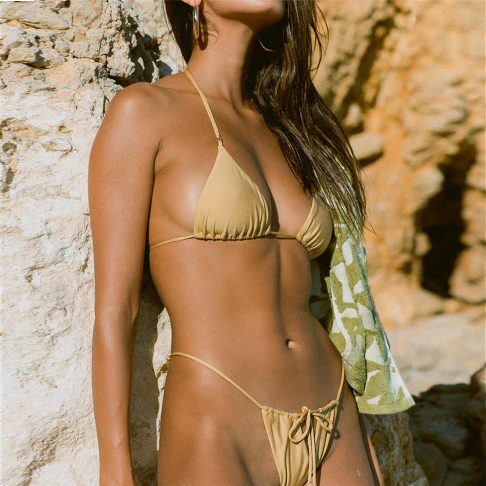 2019新款系带比基尼女士分体泳衣纯色可调节欧美沙滩性感比基尼