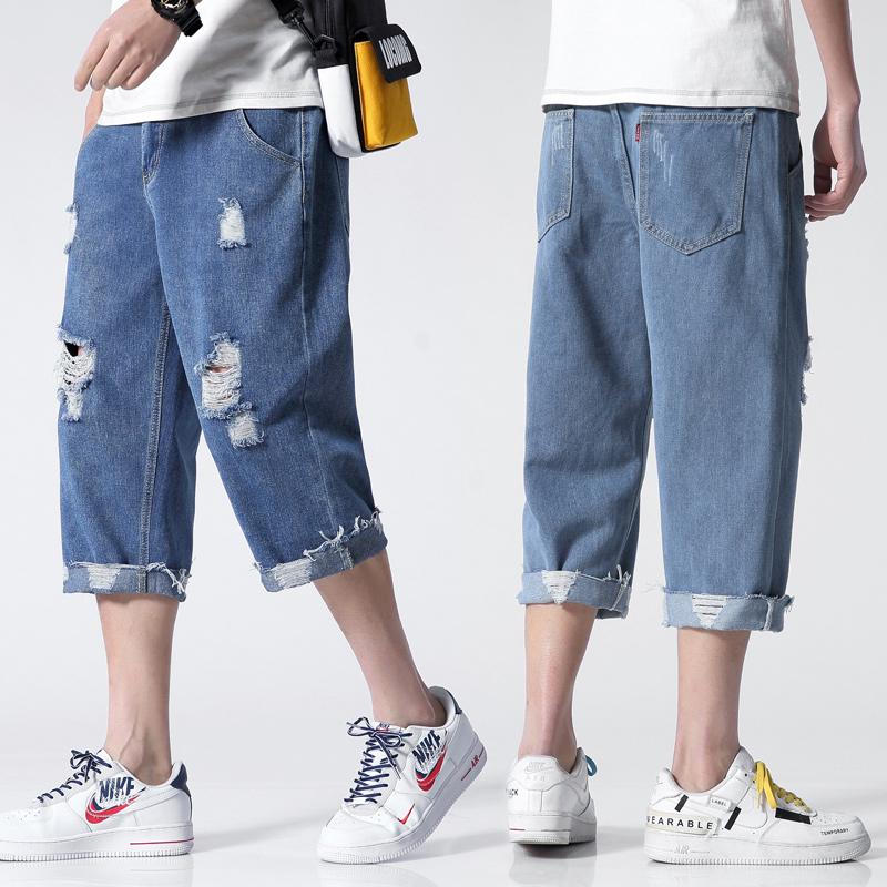 牛仔短裤男夏季直筒破洞七分裤潮男裤