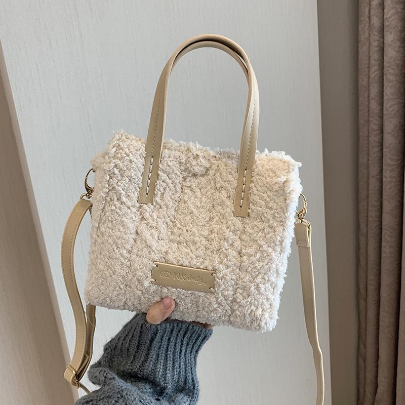 包送闺蜜女友礼物绒线自制包包 极简韩版材料毛绒绒包包