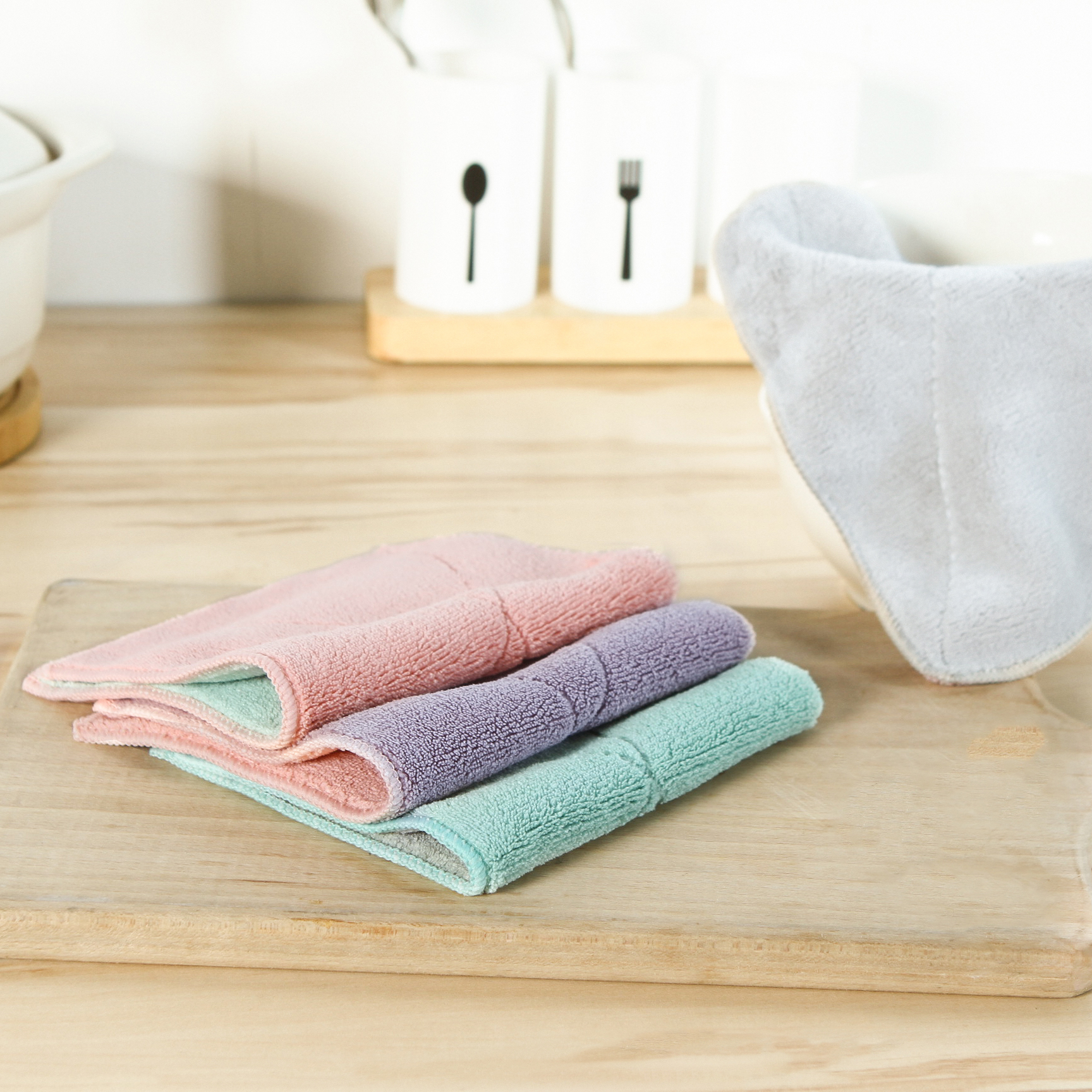 包邮5条吸水洗碗布厨房清洁布毛巾加厚不沾油不掉毛抹布擦手巾