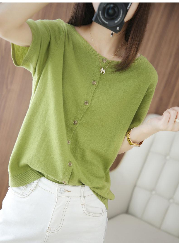 夏新款薄冰丝短袖针织开衫女两面穿空调衫配裙子上衣短款宽松外套