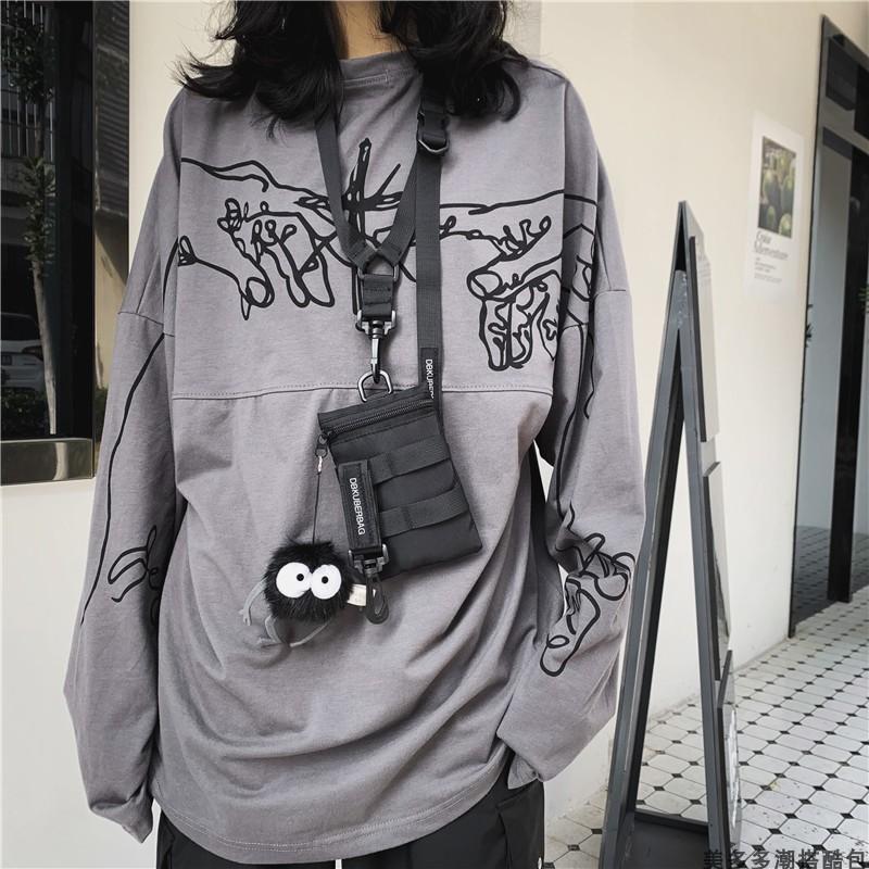 手机包挂脖嘻哈街潮牌机能风男女斜挎小包包ins迷你工装单肩手机