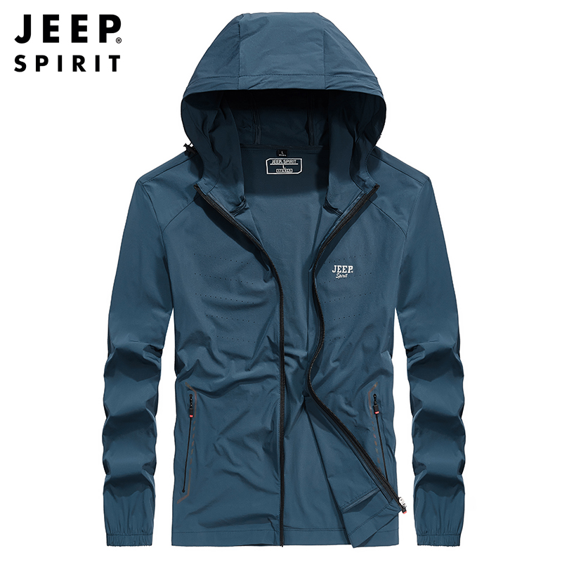 Jeep Jeep sunscreen mens spring and summer ultra light jacket coat outdoor breathable sports skin clothes