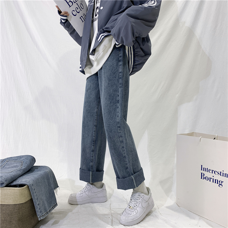 直筒牛仔裤女高腰显瘦宽松春装2021年新款裤子夏小个子阔腿裤春秋