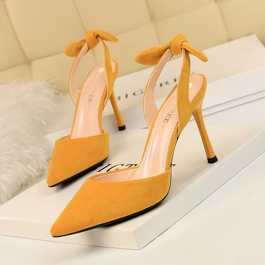 2136-3 Korean fashion thin heel super high heel suede shallow mouth pointed hollow back trip with small bow womens sandals