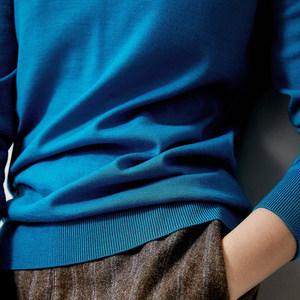 ^@^戎美【ZZ0712047】一抹天空蓝精纺羊毛秋冬BI备高领打底针织衫