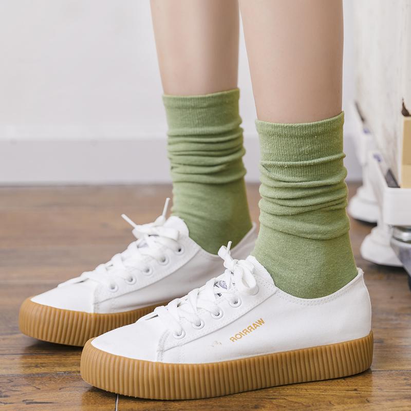 袜子女中筒袜夏季薄款黑色长筒袜女透气绿色堆堆袜日系ins潮韩国