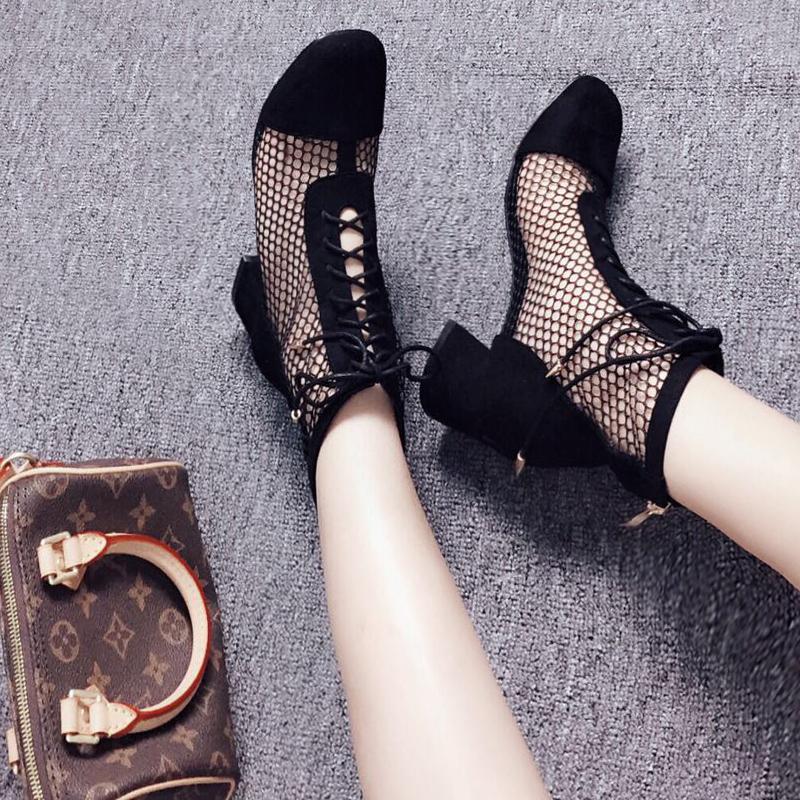 罗马凉鞋女夏大码网靴镂空带跟绑带黑色网纱粗跟凉靴短靴高筒长靴