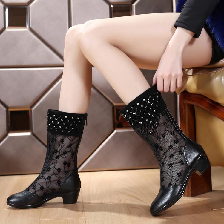 夏季牛皮中筒舞蹈鞋网靴 镂空粗跟坡跟凉靴中跟网纱鞋42 43女凉鞋
