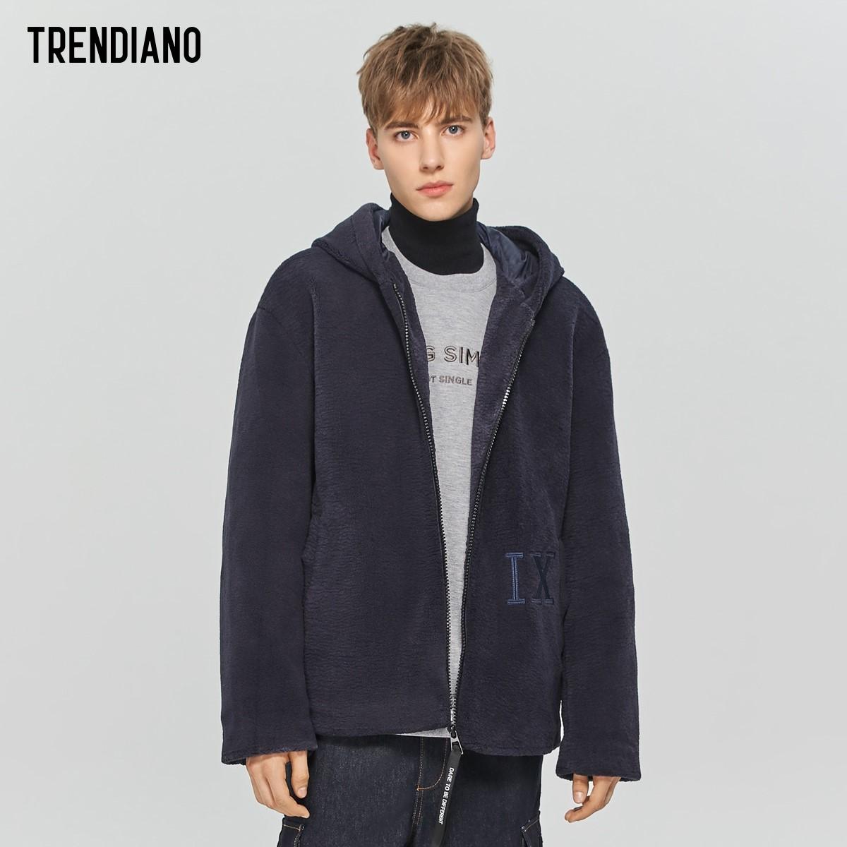 TRENDIANO潮牌秋季男装羊羔毛开衫连帽卫衣3ZC3049180