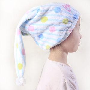 小孩浴帽儿童纯棉毛圈干发帽卡通印花中大童柔软吸水干发毛巾睡帽