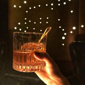 日式条纹威士忌杯 酒吧专用古典鸡尾酒杯 复古烈酒杯玻璃洋酒杯子