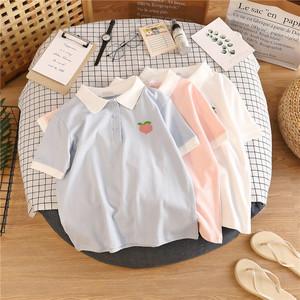 港风短款短袖2021年新款女装polo衫