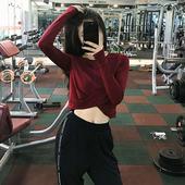 岚纹 性感露脐运动上衣女短袖速干透气跑步紧身衣瑜伽训练健身服