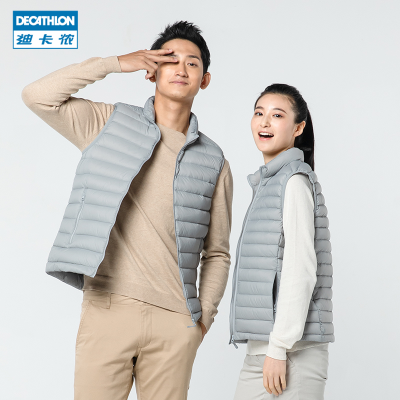 Decathlon down vest vest men and women casual down jacket autumn and winter sports vest to keep warm INESIS
