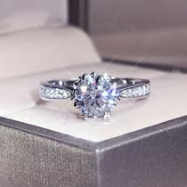 铂金pt950六爪莫桑石18K白金雪花爱心正品D色求订婚钻戒指女礼物