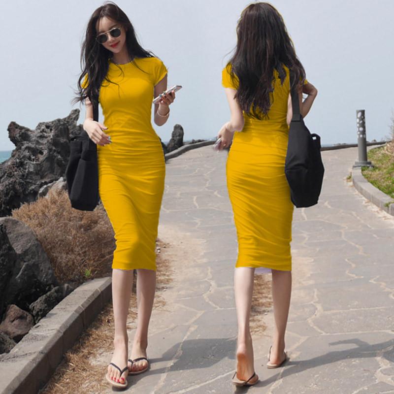 2020 new long skirt womens sexy tight buttocks dress white waist shows thin temperament long T-shirt skirt autumn