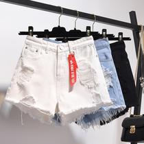 加肥加大码女装牛仔短裤女士200斤胖mm夏破洞高腰阔腿裤学生热裤
