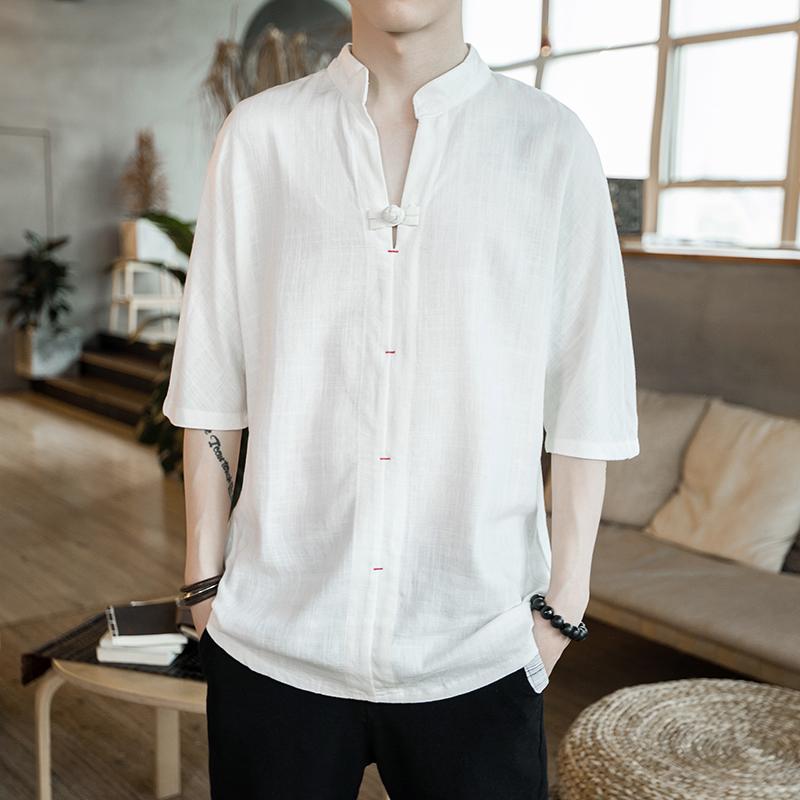夏中国风男装亚麻短袖唐装宽松大码中袖七分袖t恤棉麻衣半袖上衣
