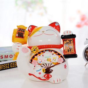 序强 景德镇陶瓷招财猫储蓄罐存钱罐 店铺家居摆设摆件创意礼品