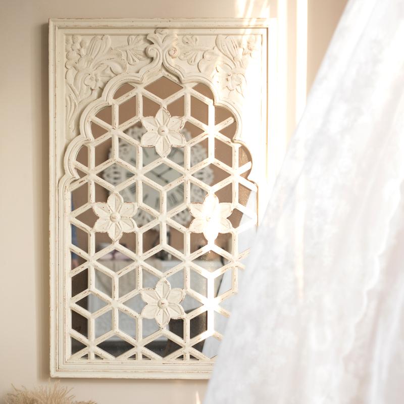 你可居法式雕花墙面装饰窗户假窗户框镜子实木复古仿真墙镜背景墙