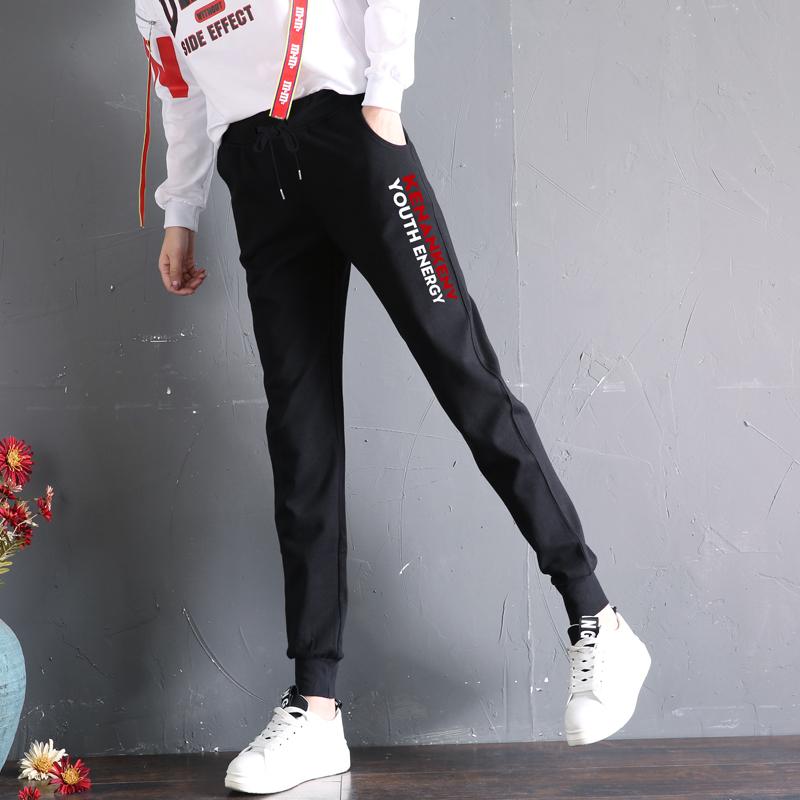 2018新款休闲裤子加绒运动裤女秋冬季学生宽松卫裤加厚显瘦哈伦裤