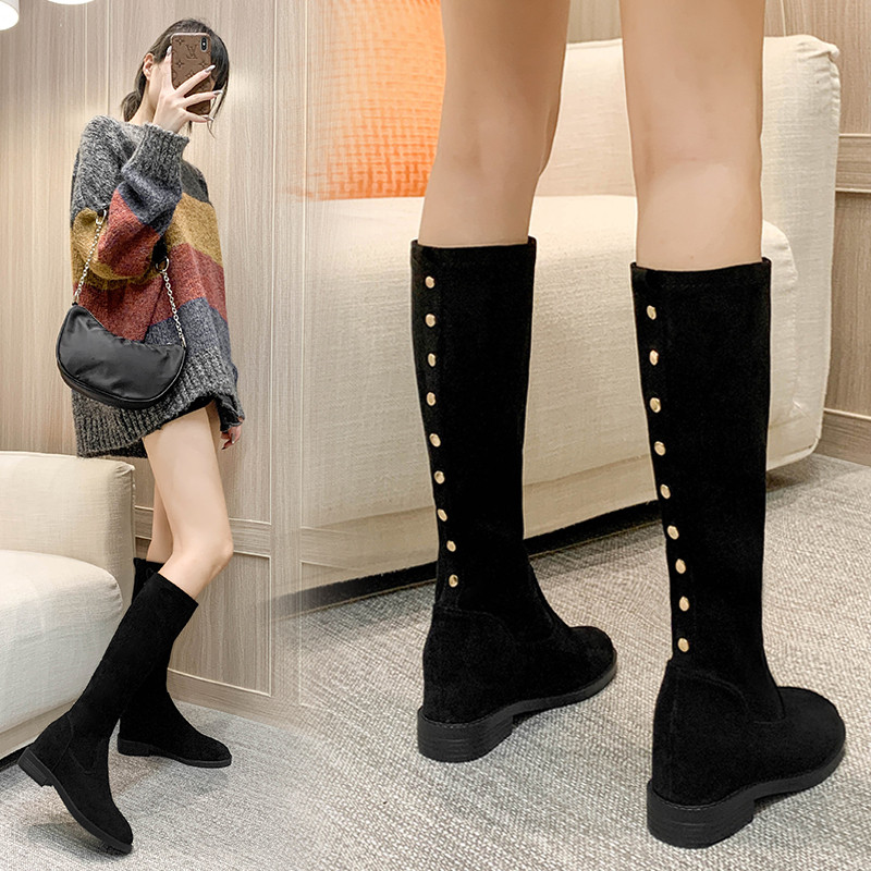 Long boots female not over knee winter thick soled riding boots inside a little boy middle tube thin leg elastic boots high heel slope heel knee