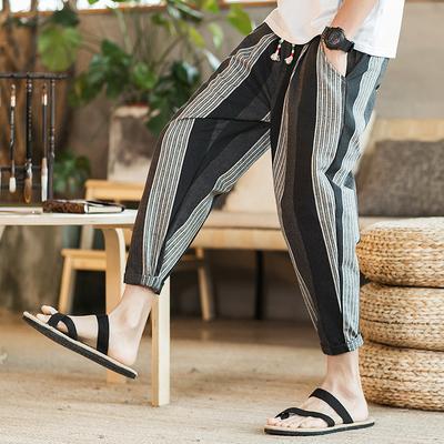 中国风爆款 棉麻男士九分裤条纹显瘦休闲裤 A032/K59/60控78黑条