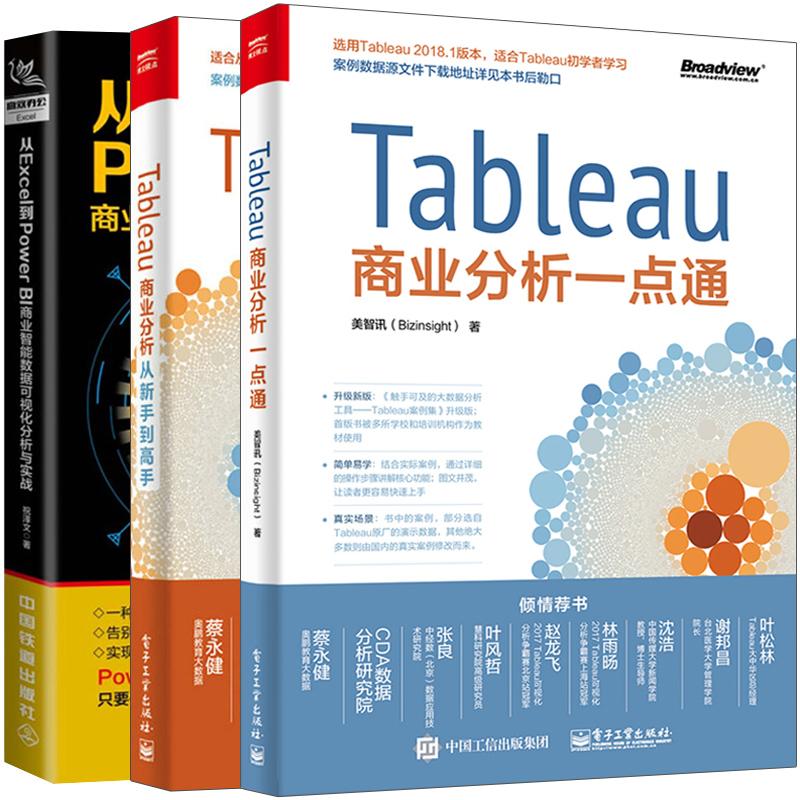 从Excel到PowerBI商业智能数据可视化分析与实战+Tableau商业分析一点通+从新手到高手 3册 软件操作教程 Power Query数据查询书籍