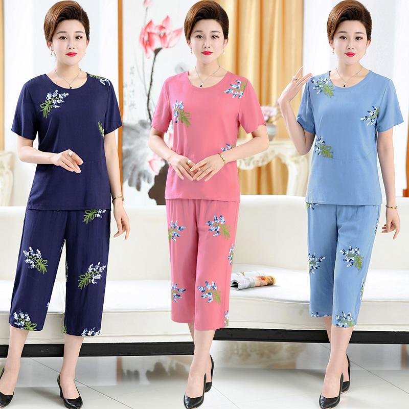 中式棉绸上衣服饰妈妈纯棉短袖T恤中老年人女装夏装中年全棉套装