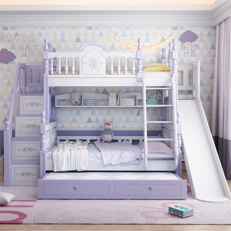 全实木高低床儿童床上下床双层床男孩女孩公主床多功能子母床城堡
