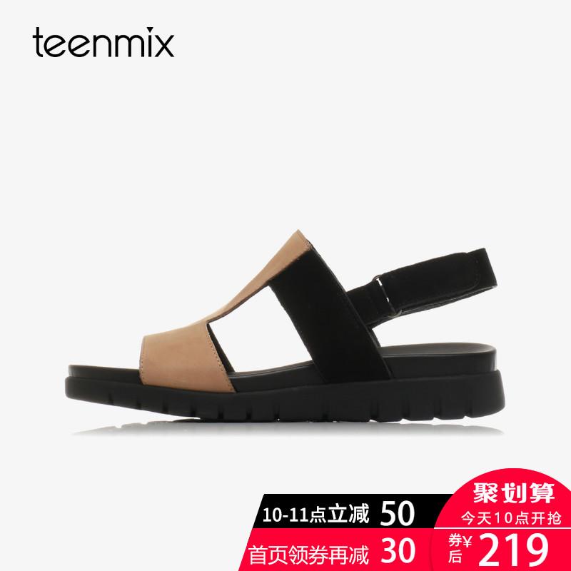 天美意夏季新款专柜同款复古牛皮舒适平底女凉鞋AO901BL7