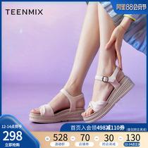 天美意坡跟凉鞋女厚底松糕罗马凉鞋奶油卷2020商场同款CT105BL0