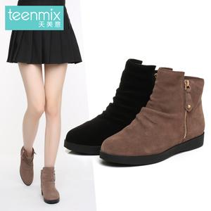 天美意冬季专柜同款剖层牛皮简约时尚女休闲靴AN841DD6