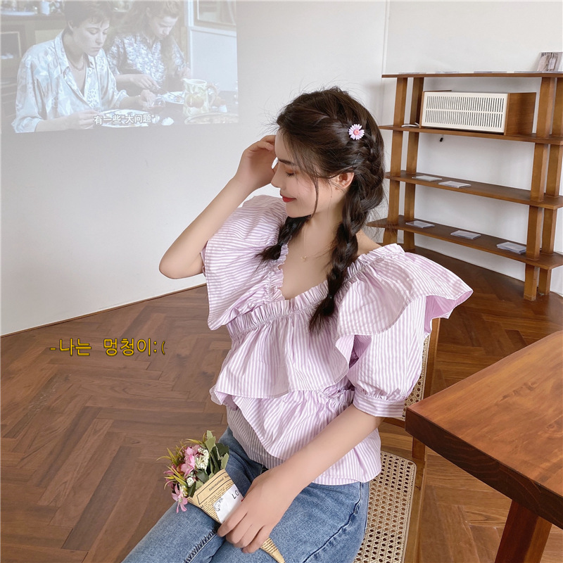 2020 summer Ruffle V-neck shirt design sense small French stripe short sleeve fairy temperament top