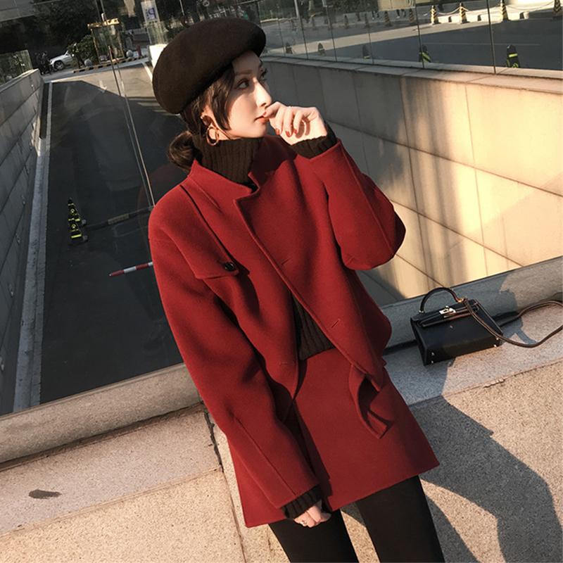 轻熟风女装新款2019秋冬季甜美复古洋气网红毛呢小外套两件套装裙