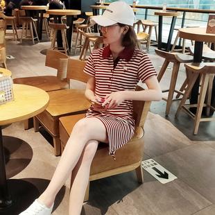 2019夏季短袖休闲运动女修身中长款条纹POLO领连衣裙翻领A字T恤裙品牌