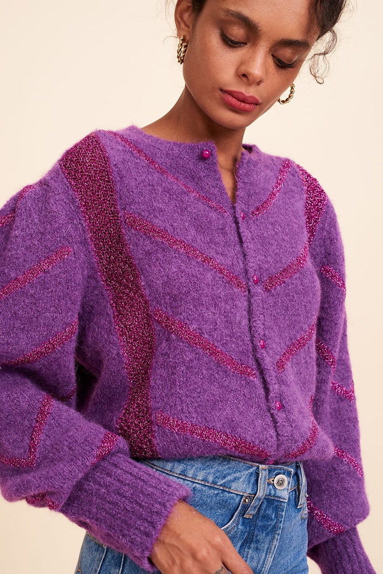 French new fashion n rou20 spring / summer bright silk bubble sleeve Mohair blended knitted cardigan
