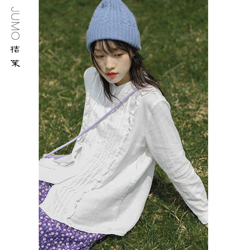 日系学院风纯棉洋气风琴褶森系花边立领棉质衬衫女白色学生上衣