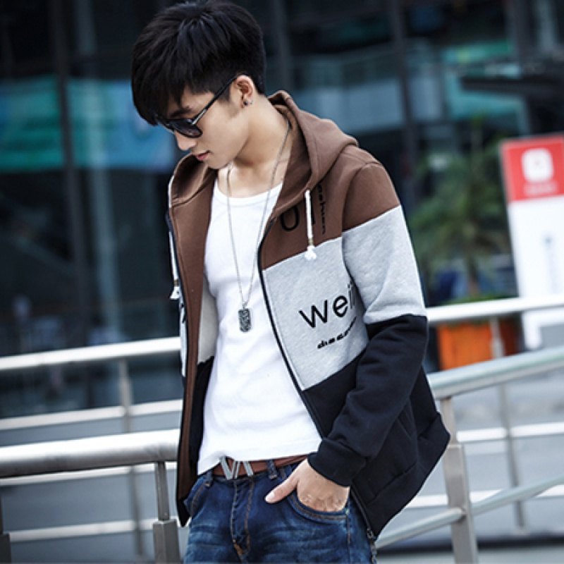 Autumn 2018 Korean casual mens jacket cardigan Plush sweater mens baseball clothes hooded fashion brand sweater