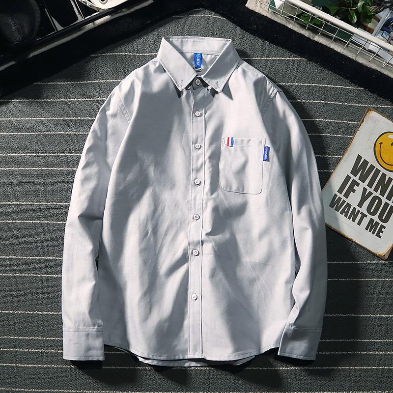 Hong Kong style wenle pure color Oxford spinning Long Sleeve Shirt Mens Korean version Japanese youth casual versatile BF shirt fashion man