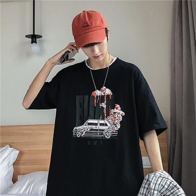 短袖t恤男潮牌个性韩版港风ins超火五分半截袖衣服A262-TX16-P25