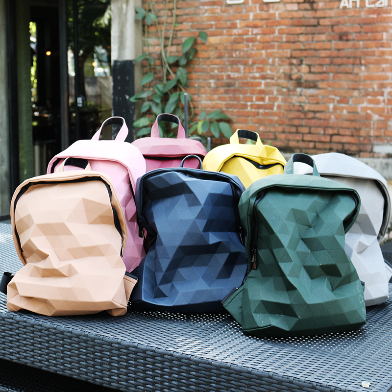 Womens bag 2021 new Lingge geometric backpack college students Campus schoolbag mens and womens high-capacity backpack fashion