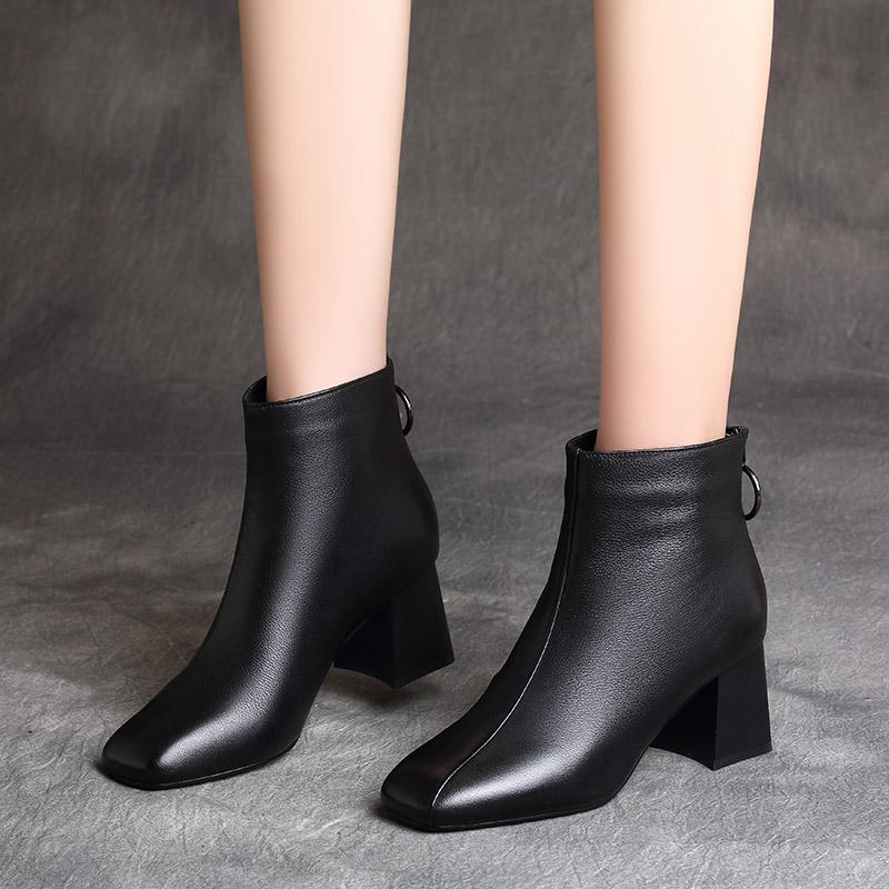 小短靴女2019新款秋冬季加绒真皮鞋女鞋粗跟马丁靴子中跟百搭棉鞋