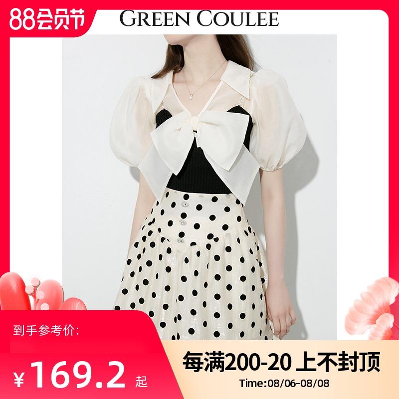 タオバオ仕入れ代行-ibuy99|短裙|绿古力半身裙女夏2021新款法式复古设计感小众显瘦高腰波点短裙