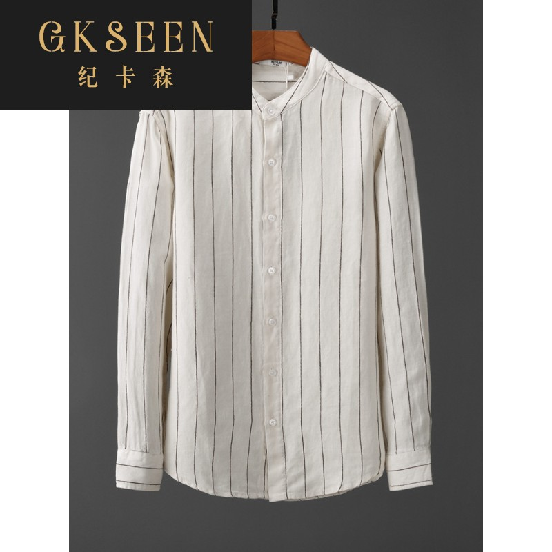 Gkseen stripe casual pure linen shirt mens long sleeve round neck linen breathable mens shirt clothes xj0813