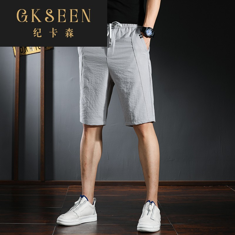 Gkseen summer thin casual Capris mens trend versatile slim stretch Tencel shorts wear rf0813
