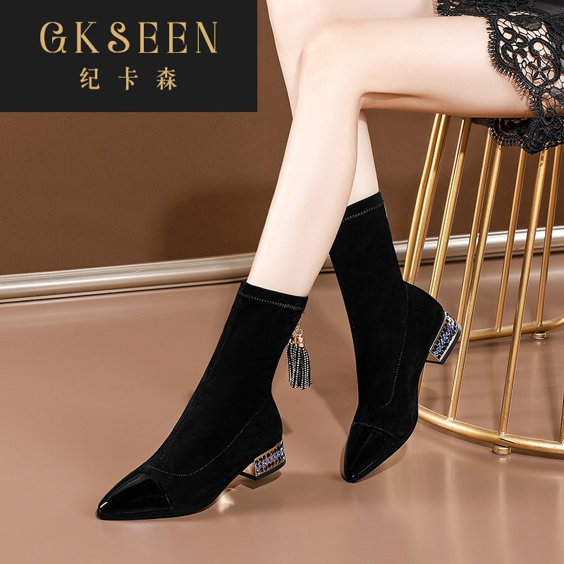 Gkseen low heel elastic boots female pointed water drill short boots new thin boots thick heel socks boots medium boots rf0924
