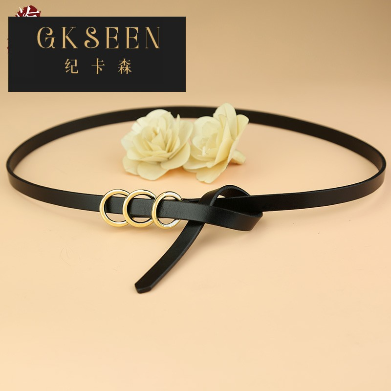 Gkseen top leather black belt with fine decorative knotting skirt dress ring buckle pants belt xj0831